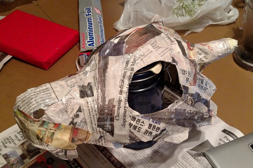 skull helmet covered in paper mache