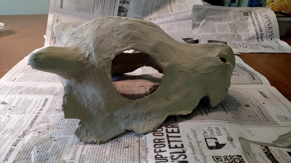 skull before sanding; surface is very rough and pitted