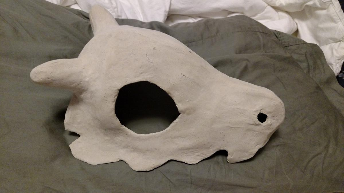 skull after sanding, mostly smooth